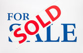 For Sale Sign with Sold Sticker  — Stock Photo