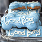 Quality Decorative Blue Dog Treats with White Words Good Boy — Stock Photo