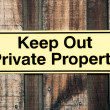 Pale Yellow and Black Sign Stating Keep Out Private Property — Stock Photo #49120193