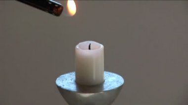 Lighter On Candle — Stock Video