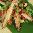 Putting skewered Asian shrimps onto a bed of garden salad. - Stock Photo
