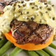 Steak With Peppercorn Sauce — Stock Photo
