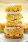 Custard Cake Stack — Stock Photo