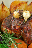 Roast Lamb And Garlic — Stock Photo