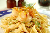 Fettucini With Sea Scallops — Stock Photo