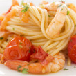 Tomato And Shrimp Pasta - Stock Photo