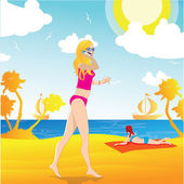 Beach girl walking — Stock Vector