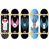 Skateboard desing skull wings — Stock Vector