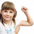 The girl shows the biceps — Stock Photo