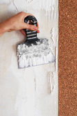 Peel dried glue for glueing wallpaper — Stock Photo