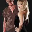 Zombie and  vampire  in the studio - Stock Photo