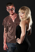 Zombie and vampire in the studio — Stock Photo
