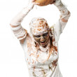 The mummy is holding the pumpkin — Foto de Stock