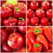 Red fruit and vegetables in the collage - Stock Photo
