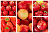 Collection of red fruit and vagetable backgrounds — Stock Photo