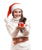 The fun girl is giving the gifts — Stock Photo