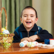 Funny boy colored Easter eggs — Stock Photo