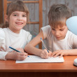 Стоковое фото: Children drawing on paper