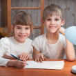 Children drawing on paper — Stock Photo #22328953