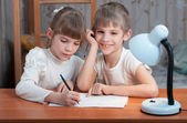 Children drawing on paper — Stock Photo