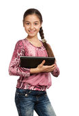 Cute girl with a Digital Tablet — Stock Photo