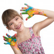 Little girl with her hands painted — Stock Photo