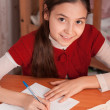 Girl doing homework in a notebook — Stock Photo #22330483