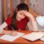 Schoolgirl doing homework — Stock Photo #22330511