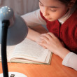 Girl at desk reading a book by light of the lamp — Stock Photo #22330637