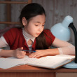 Girl was very tired to do homework — Stock Photo #22330859