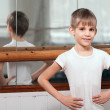 Dancer standing near barre — Stock Photo