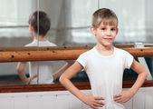 Dancer standing near barre — Stock Photo