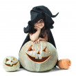 Little witch wondered — Stock Photo