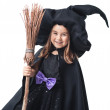 Little witch with a broom — Stock Photo