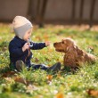 Boy sitting on the grass with a dog — Stock Photo #35015727