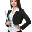 Stock Photo: Beautiful businesswomwith folder