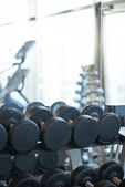 Big dumbbells are at the front — Foto Stock