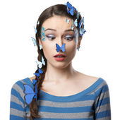 Girl art make-up with butterflies — Stock Photo