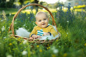 Small smiling childin sitting in a basket — Stock Photo