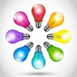 Royalty-Free Stock Vector Image: Colorful background creative idea light bulbs
