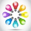 Colorful background creative idea light bulbs — Stock Vector #14879161