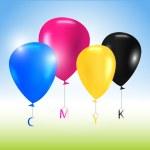 Vector balloons CMYK concept — Stock Vector