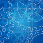 Gear blueprint abstract design — Stock Vector