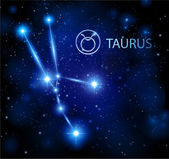 Abstract background - night sky stars with taurus horoscope sign — Stock Vector