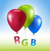 Vector balloons RGB concept — Stock Vector