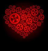 Vector gear heart background — Stock Vector