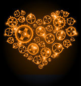 Vector shining gear heart background — Vettoriale Stock