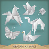 Origami animals vector set — Stock Vector
