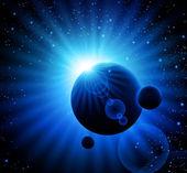 Raum blauer hintergrund mit planeten — Stockvektor