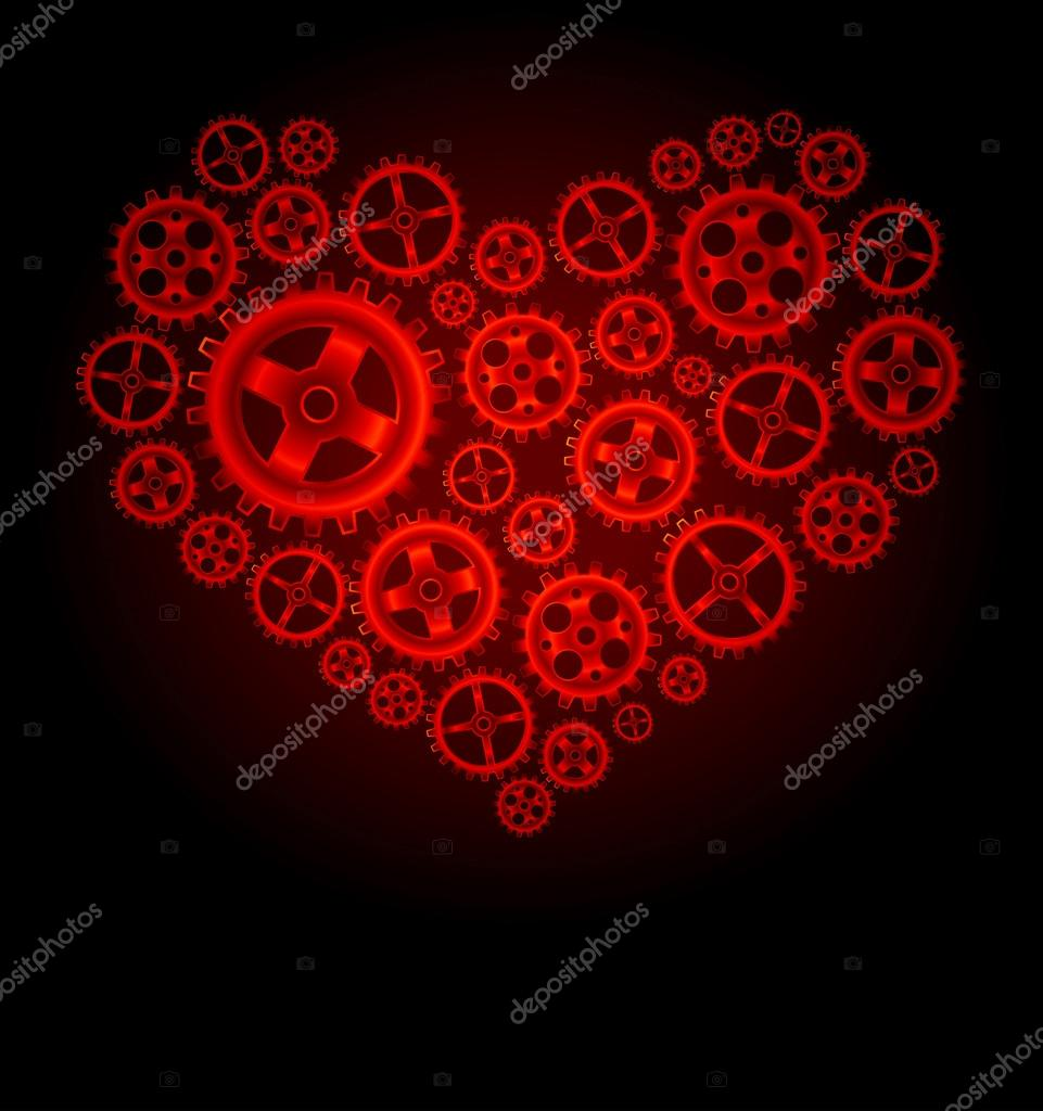 Vector gear heart background — Stock Vector #14879277